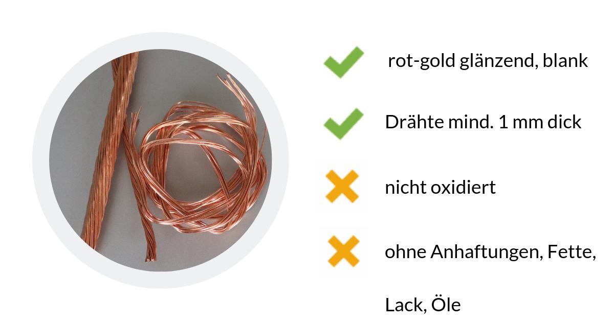 Kupfer Millberry ist blank, rein und rot-gold glänzend. Es besteht aus Drähten die mind. 1 mm dick sindd