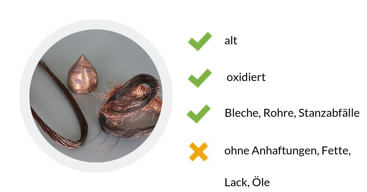 Kupfer schwer ist altes, oxidiertes Kupfer zu 98%